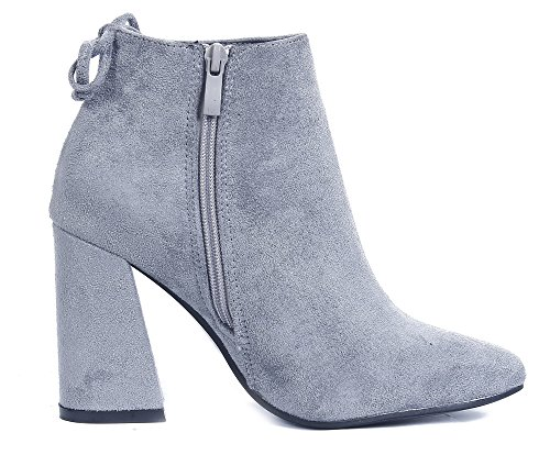 AgeeMi Shoes Womens Lace up Block Mid Heel Work Ankle Boots With Zipper Gray ArtpxP