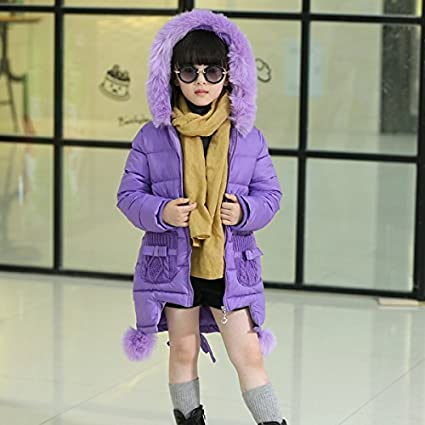 MV Winter New Girls Children Korean Thickening Wool Hooded Long Down Cotton Coat