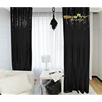 Holiday Decoration Curtains,2FTx8FT-Sequin Backdrop-Black, Shimmer Party/Wedding Photo Booth Backdrop