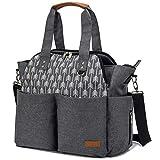 Lekebaby Diaper Bag Tote Satchel Diaper Messenger for Mom and Girls in Grey, Arrow Print