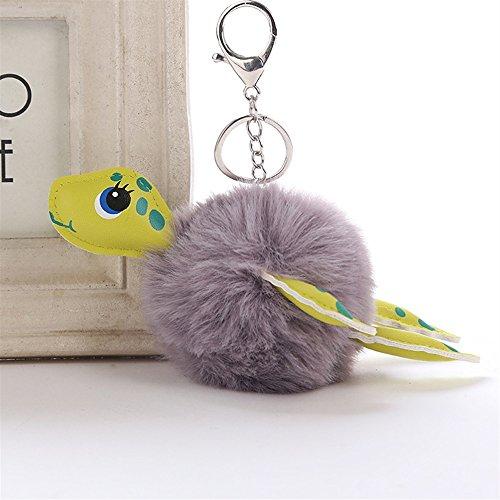 Woman Elegant Style Keychain PU Leather Turtle Plush Ball Key Chain Pendant Plush Doll Key Ring Keychain(Grey)