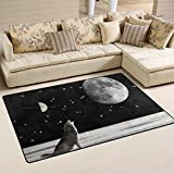 """SAVSV Area Rug Carpet Floor Mat 5' x 3'3""""(60""""x39"""") Lightweight Printed Easy Clean Decorative Cool Wolf In Space Anti-Static For Living Room Bedroom Indoor 60x39 in"""