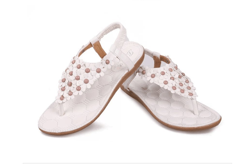 NewYork Offer Shop Women Bohemia Style Sling Sandals Flower Beads T-Strap Flip Flop Flats Slip On Thong Sweet Shoes (Full Floral White, 5 B(M) US/36EU)