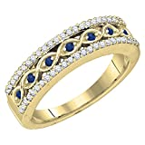 10K Yellow Gold Round Blue Sapphire & White Diamond Ladies Wedding Band (Size 4.5)