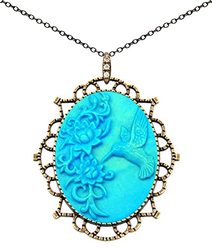 Princess Crown Necklace Antique Brass Fashion Jewelry Deluxe Pouch for Gift (Hummingbird Carving)