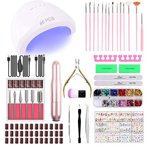 86PCS Portable USB Electric Nail Drill Set Polish Pen File Kit, 48W UV LED Nail Lamp Gel Manicure Dryer Lamp, Acrylic Nail 3-D Art Drill Dryer Manicure Supplies, Nail Files Tool Polish Decorating