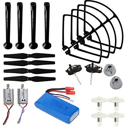 AVAWO Upgraded Spare Parts for Syma X8C X8W X8G Venture Full Spare Parts Kit Crash Pack (Main Blade Propellers & Motor & Propeller Protectors Blades Frame & Landing Skid & Battery & Gear etc.