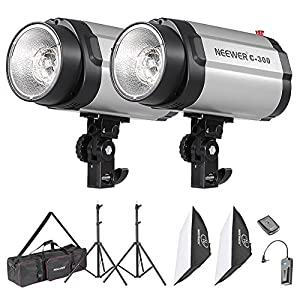 Neewer 600W Photo Studio Monolight Strobe Flash Light Softbox Lighting Kit with Carrying Bag for Video Shooting,Location and Portrait Photography(300DI)