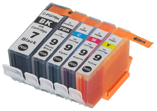 5 Pack Compatible Canon PGI-7 , PGI-9 1 Small Black, 1 Cyan, 1 Magenta, 1 Yellow, 1 Big Black for use with Canon IX7000 RFB, PIXMA MX7600, PIXMA iX7000. Ink (Pixma Ix7000 Inkjet Printer)