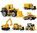 TQP-CK 6 Set Kids Metal Construction Vehicles Engineering Car Bulldozer,Unloader,Excavator,Forklift,Roller,Tanker for Kids Age 3+