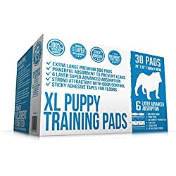 Bulldogology Puppy Pee Pads XL with Adhesive Sticky Tape - 30 Extra Large Dog Training Premium Wee Pads (24x35) 6 Layers with Extra Quick Dry Bullsorbent Polymer Tech