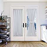 "White Patio Door Curtain Panel - Pony Dance Solid Energy Efficient Window Treatment Curtain Thermal Insulated Door Panel with Rod Pockt for French Door Including Bonus Tieback,54"" x 72"",Greyish White"