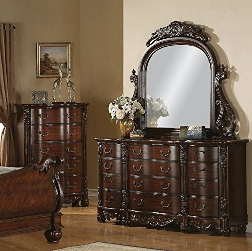 Roundhill Furniture Saillans Solid Wood Construction Fully Assembled Dresser and Mirror, Cherry Finish