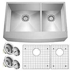 Farmhouse Kitchen Miligore 33″ x 21″ x 10″ Deep Double Bowl (60/40 Split) Farmhouse Apron Zero Radius 16-Gauge Stainless Steel Kitchen Sink – Includes Drains/Grids farmhouse kitchen sinks