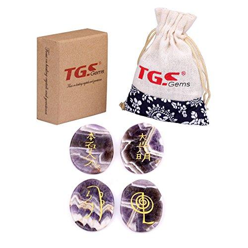 TGS Gems Healing crystals - 4pcs Engraved Chakra Amethyst Stone Palm Stone Crystal reiki symbols