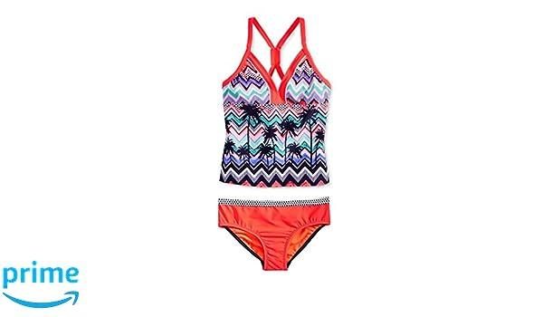 7b362b0a03711 Amazon.com: ZeroXposur Girls' Waikiki Girl Tankini Swimsuit 2pc Set (12,  Flame): Clothing