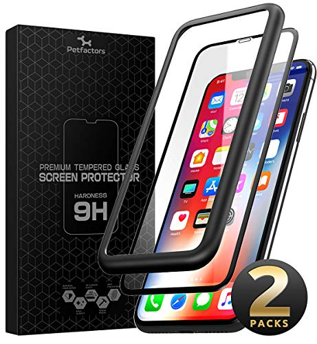 SUPCASE iPhone Xs Max Screen Protector, [Anti-Scratch] Premium 3D Curved Edge Anti-Impact Tempered Glass Screen Protector with Guide Frame for iPhone Xs Max 6.5 Inch 2018 (2-Pack)