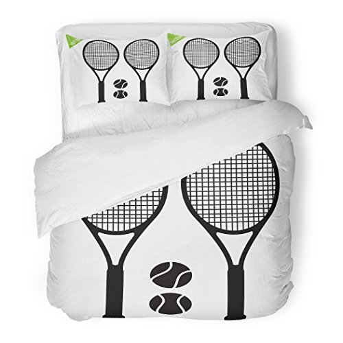 SanChic Duvet Cover Set Ball Tennis Racket Silhouettes Playground Strings White Activity Club Decorative Bedding Set with 2 Pillow Shams Full/Queen Size ()