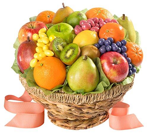 Fresh Fruit and Gourmet Chocolates in Keepsake Basket