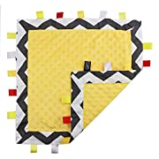 5 Colors - TAGZ Tag Blanket for Infant by CRAZZIE (Grey Zigzag with Yellow Dot-Minky)