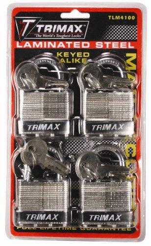 Trimax TLM4100 4 Pack Keyed Alike TLM100 40MM Padlocks with 1'' x 1/4'' Dia. Shackle