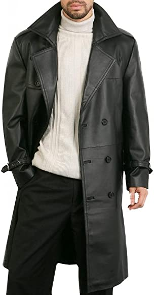 DashX Mens Classic Leather Trench//Long Coat,Large Black