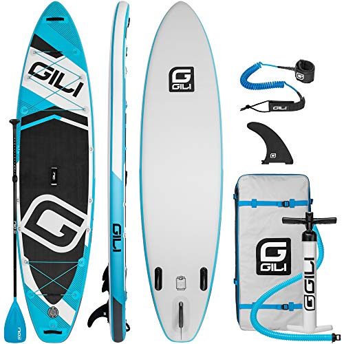 "GILI Adventure Inflatable Stand Up Paddle Board | 11' Long x 32"" Wide x 6"" Thick 