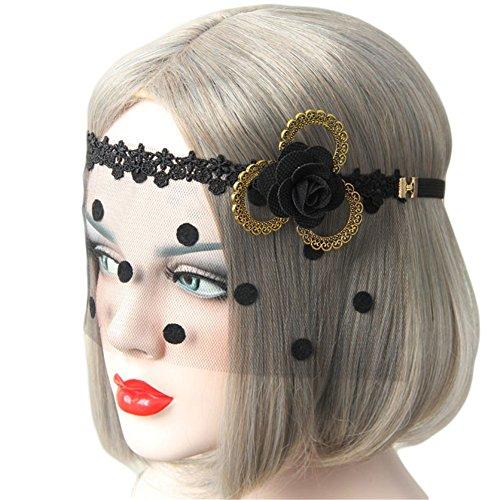 Princess Mononoke Costume Mask (Princess Lace Half Face Mask Black Headband Veil Masquerade Mask for Costume Party)