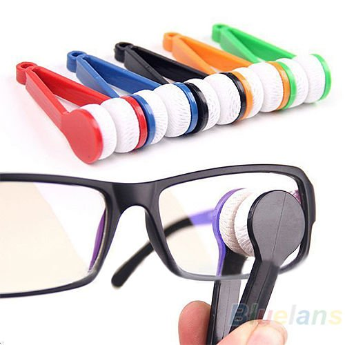 NPLE--Good Mini Portable Glasses Eyeglass Sunglasses Microfiber Cleaner Brush - Salt Frames Eyeglasses