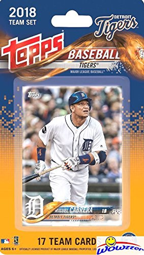 (Detroit Tigers 2018 Topps Baseball EXCLUSIVE Special Limited Edition 17 Card Complete Team Set with Miguel Cabrera, Michael Fulmer & Many More Stars & Rookies! Shipped in Bubble Mailer! WOWZZER!)