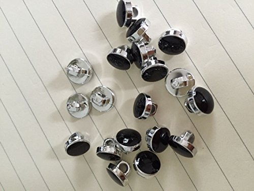 - 50 x dress shirt buttons black with silver trim shank on back 11mm