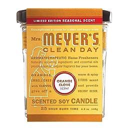 Mrs. Meyer\'s Soy Candle, Orange Clove, 4.9 Oz