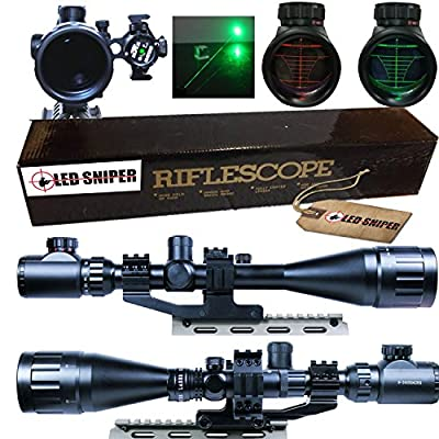 Ledsniper® 2 In1 6-24x50 Hunting Rifle Scope Mil-dot Illuminated Snipe Scope &+Tactical green Laser Sight from Ledsniper®(us seller)