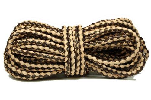 Genuine Bolo 7.0 Millimeter Braided Leather Cord, Dark Brown/Natural, 10 Meters