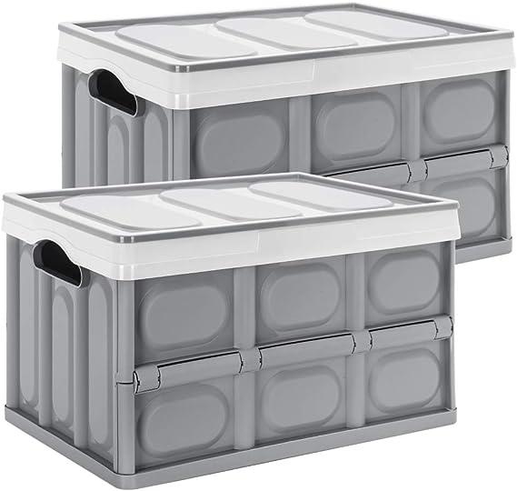 Yorbay Cajas de Almacenamiento Plegables de Pl/ástico 2 Unidades Cubos de almacenaje con Tapa Gris 55L