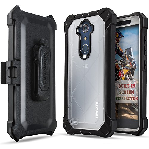 COVRWARE [Ranger Pro] case Compatible with ZTE ZMAX PRO/MAX XL/Blade Max 3 / (Z986) / N9560, with Built-in [Screen Protector] Full Body Rugged Holster Armor Case [Belt Clip][Kickstand], Clear