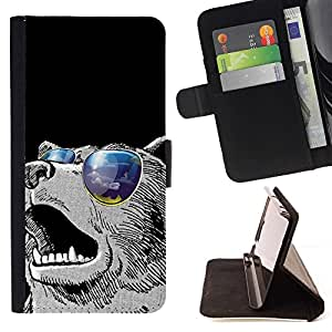 Momo Phone Case / Flip Funda de Cuero Case Cover - Enfriar gafas de sol Oso;;;;;;;; - Apple Iphone 5C
