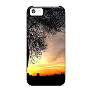Mialisabblake Scratch-free Phone Case For Iphone 5c- Retail Packaging - Tree At Sunset With City Silhouette