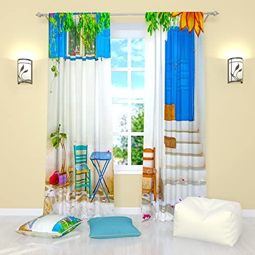 Factory4me Vintage Curtains Collection Porch. Window Curtain Set of 2 Panels Each W52 x L96 Total W104 x L96 inches Drape