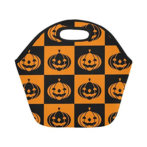 Insulated Neoprene Lunch Bag Halloween Icons Large Size Reusable Thermal Thick Lunch Tote Bags For Lunch Boxes For Outdoors,work, Office, School -