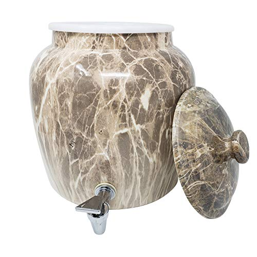 Premium Lead-Free Porcelain Beverage Dispenser With Matching Lid - 2.5 Gallons - Comes with Crock Ring Protector, No-Drip Chrome Painted BPA-Free Plastic Spigot Faucet and Lid - Gray Classic Marble