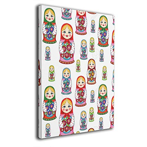 customgogo Russian Matryoshka Doll Pattern Art Hand Painted Paintings Abstract Canvas Wall Art Modern Style for Living Room,Dinning Room Home Decor None Framed Stretched Ready to Hang