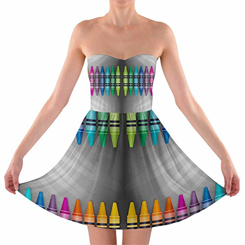 Rainbow Crayons Strapless Bra Top Dress Trägerlos Sommerkleid XS-3XL