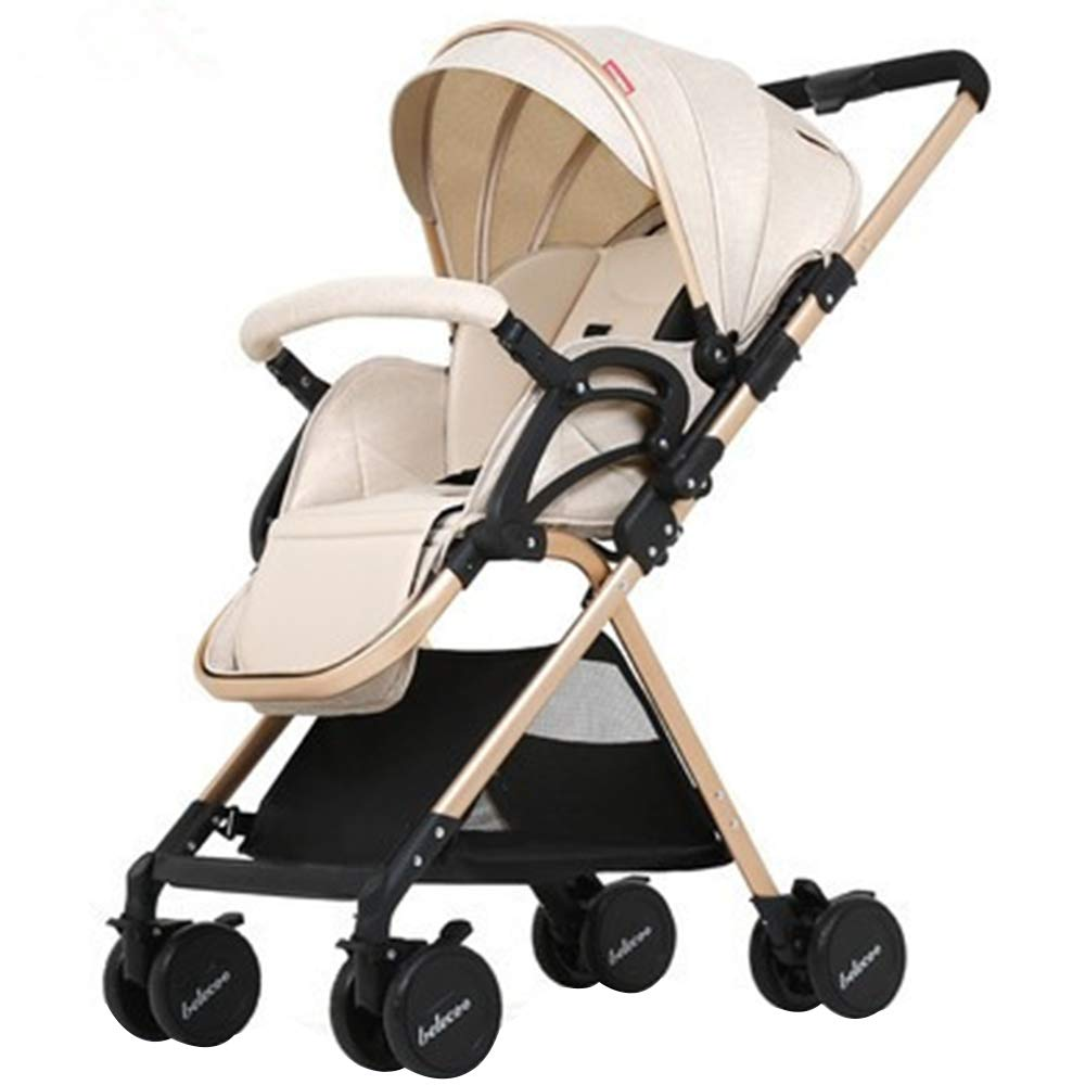 Multi-Functional high Landscape Baby Stroller, Four-Wheel Damping Four-Wheel Brake, Ultra-Light Portable one-Hand Folding Two-Way Push cart, Suitable for 0-1-2 Years Old Baby