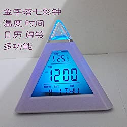 Triangle Pyramid Colorful Clock Multifunctional With Thermometer LED Digital Color Change Colorful Clock