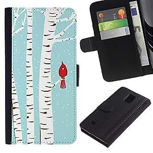 Billetera de Cuero Caso Titular de la tarjeta Carcasa Funda para Samsung Galaxy Note 4 SM-N910 / Bird Blue White Drawing Snow / STRONG