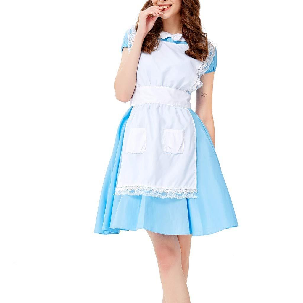 Women's Beer Festival Dress Vintage Bavarian Beer Festival Cosplay Maid's Costumes Mini Dress Clothes Daorokanduhp Blue