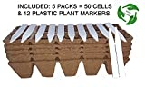 jiffy peat tomato - Seed Starter Peat Pots Kit / 100% Biodegradable and Organic + 12 Plastic Plant Markers.