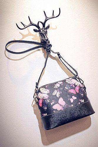 niceEshop(TM) Patrón de Flores de Cuero Bolsa de Mensajero de Crossbody Bolsos de Hombro para las Mujeres, Mariposa mariposa