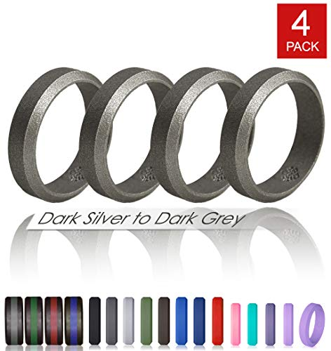 Knot Theory Silver to Dark Grey Silicone Wedding Rings – 4 Pack, Metal Metallic Size 11, 6mm Band for Superior Comfort, Style, and Safety For Sale